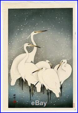 OHARA KOSON Shoson JAPANESE Woodblock Print Herons in Snow imperfect product