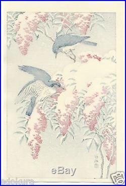 OHARA KOSON Shoson JAPANESE Woodblock Print Nanten Bush & Fly-catchers in Snow