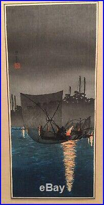 ORIGINAL JAPANESE WOODBLOCK TAKAHASHI SHOTEI Night Fishing Net at Tukuda
