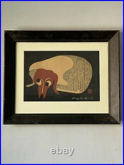 ORIGINAL KIYOSHI SAITO HANIWA WOODBLOCK PRINT 1960s OLD VINTAGE JAPANESE MODERN
