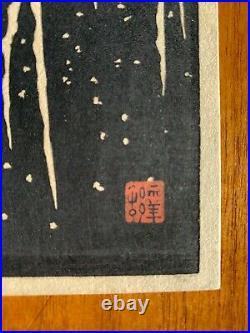 Ohara Koson Egret on Snowy Branch Small Original Woodblock 1930