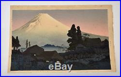 Old Japanese Unmounted Woodblock Print Takahashi Shotei Fuji From Mizuchubo