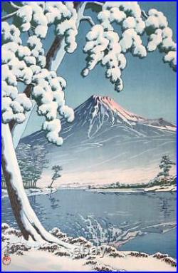 Original 1932 Kawase Hasui Snow on a clear day at Mt. Fuji Woodblock Print