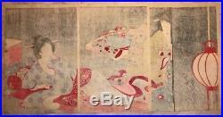 Original Japanese Woodblock Print Chikanobu 1896-98 Rest, Rare