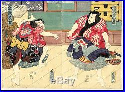 Original Japanese Woodblock Print -SUMO Diptych-Toyokuni lll/ Kunisada -1857