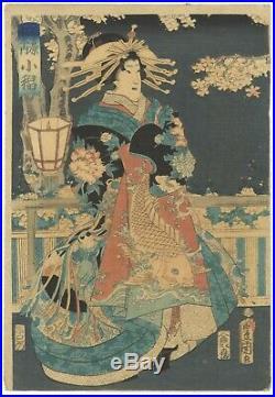 Original Japanese Woodblock Print, Toyokuni III, Tea House, Beauty, Ukiyo-e