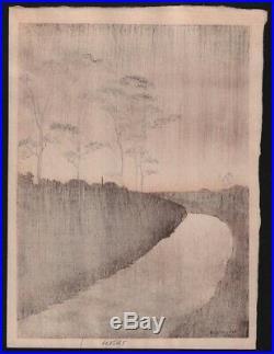 Original Japanese Woodblock Print by KOHO Moonlit Canal (Sepia impression)