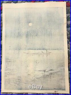Original Japanese Woodblock Print by KOHO Moonlit Sea Pristine Condition