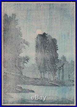 Original Japanese Woodblock Print by TAKAHASHI SHOTEI Moonrise