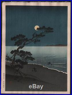 Original Japanese Woodblock Print by YOSHIMUNE Suma Beach, Full Moon