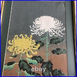 Original Japanese woodblock print Gold Framed Ohno Bakufu Kiku Mid-20th century