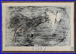 Original Kaoru Kawano Japanese woodblock, Running (charging) Rooster, m-20th c