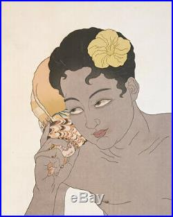 Original Paul Jacoulet Japanese Woodblock Print Song of the Waves Ponape Boy