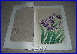 Original Rare Shodo Kawarasaki IRIS Woodblock Fine Print Japanese