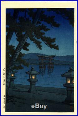 PRISTINE 1947 Kawase Hasui Night Miyajima 7 mm Original Japanese Woodblock Print