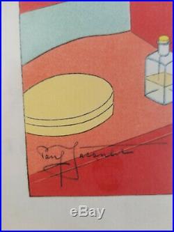 Paul Jacoulet Framed Le Miroir De Laque Rouge Tokio Japanese Woodblock Print