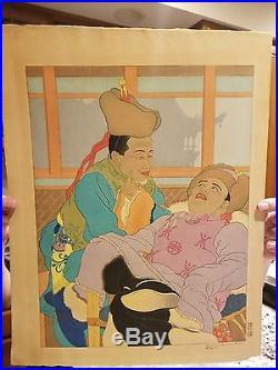 Paul Jacoulet UNE HISTOIRE TRES DROLE. MONGOLS Japanese Woodblock