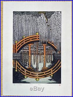 RAY MORIMURA Japanese Woodblock Print TENJIN BRIDGE WITH WISTERIA 2013