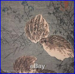 Rare Aoki Seiko Japanese Woodblock, Birds in the Moonlight, Signed & Nice