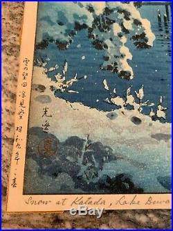 Rare Tsuchiya Koitsu Original Wood Block Print Snow at Katada, Lake Biwa