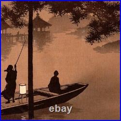 SHODA KOHO Lake Biwa at Night rare sepia antique Japanese woodblock print