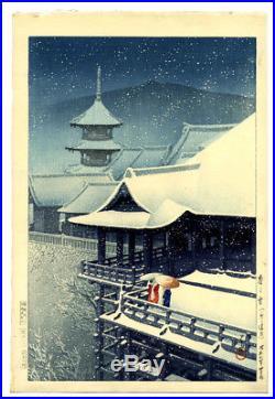 STUNNING! 1932 Kawase Hasui Snow at Kiyomizu Original Japanese Woodblock Print