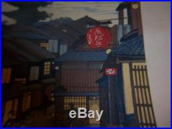 Signed Japanese Village Women Kimono Colored Woodblock