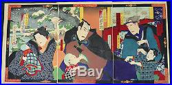 Superb Antique Japanese Woodblock Prints Tryptich By Chikanobu Dated 1884
