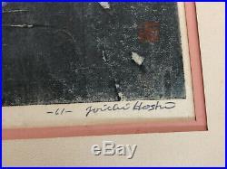 THUNDER 1961 JOICHI HOSHI Large Signed Framed Woodblock Print Abstract 13/100