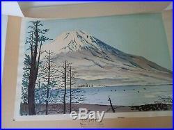 TOMIKICHIRO TOKURIKI Japanese Woodblock Mt. Fuji at Lake Yamanaka Uchida Print