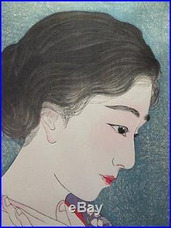 TORII KOTONDO JAPANESE WOODBLOCK PRINT Applying Powder Make Up BIJIN