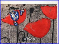 Tadashi Nakayama Japanese Woodblock Print 1968 4/85 Poppies Flowers Dog Pointer