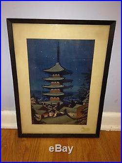Takeji Asano 20th Century Moonlight In Yasaka Pagoda Japanese Woodblock Print