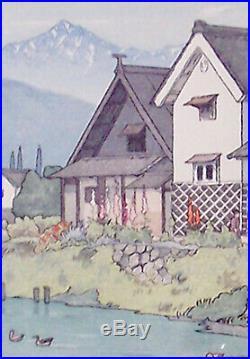 Toshi Yoshida (1911-1995), Japanese WOODBLOCK PRINT MATSUMOTO, Vintage 1940
