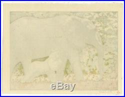 Toshi Yoshida, Elephants, Animal, Africa, Original Japanese Woodblock Print