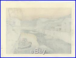 Toshi Yoshida, Iidabashi, Tokyo Landscape, Original Japanese Woodblock Print