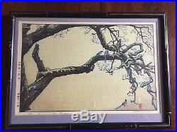 Toshi Yoshida Plum tree and Blue Magpie Japanese Woodblock Print