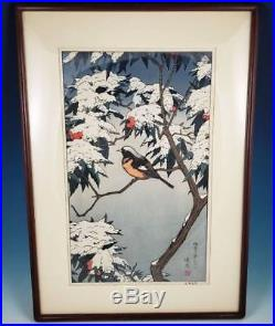 Toshi Yoshida Winter Japanese Woodblock Print Franklin Mint Birds of the Seasons