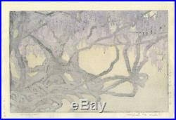 Toshi Yoshida, Wisteria at Ushijima, Flower, Original Japanese Woodblock Print