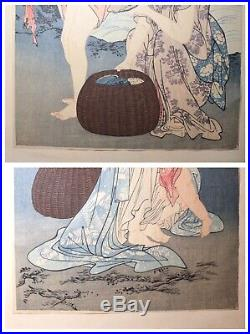 Tryptic antique original Japanese Kitagawa Utamaro abalone diver woodblock print
