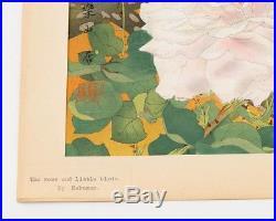 Tsuchiya Rakusan Color Woodblock Print Finches & Roses 13x19 Japanese Artwork