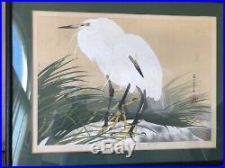 Tsuchiya Rakusan. White Herons. Woodblock Large Original Print 1935