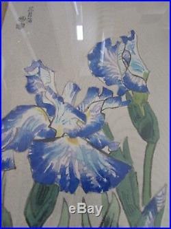 UKIYO-E Original Japanese Woodblock Print Blue IRIS Collectors Guild A151