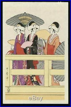UTAMARO JAPANESE Six Panels Woodblock Print On Top and Beneath Rygoku Bridge