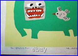 Umetaro Azechi, 1977, AP, Cat and Bird, Japanese Woodblock Print
