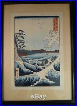Utagawa Hiroshige woodblock View of Mt. Fuji from Satta Point in the Suruga Bay