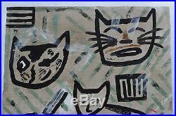 VERY LARGE LIMITED EDITION JAPANESE WOODBLOCK PRINT By GASHU FUKAMI CATS
