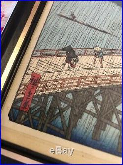Vintage HIROSHI YOSHIDA JAPANESE WOOD BLOCK PRINT Sudden Shower Ohashi Bridge