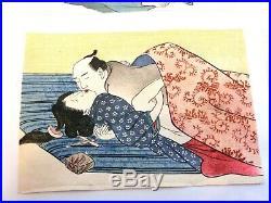 Vintage Japanese UKIYOE Wood Block print SHUNGA Set of 5 Free Shipping