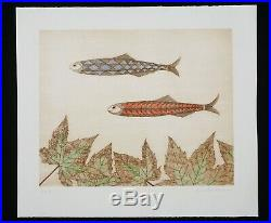 Vintage Japanese Woodblock Print 54/75 Two Fish by Keiko Minami (1911-2004)(HRo)